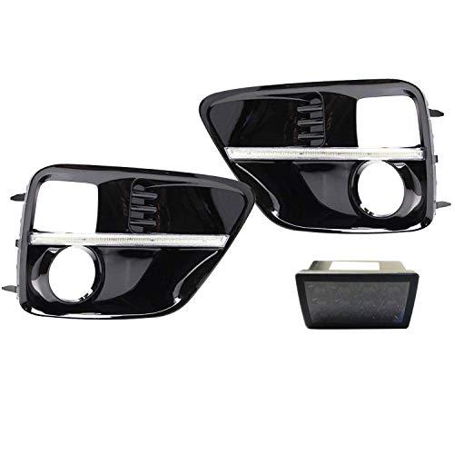 iJDMTOY JDM S4 LED DRL Fog Light Bezels Plus Smoked Lens F1 Style LED Rear Foglight Combo Kit For 2015-2017 Subaru WRX or WRX STI