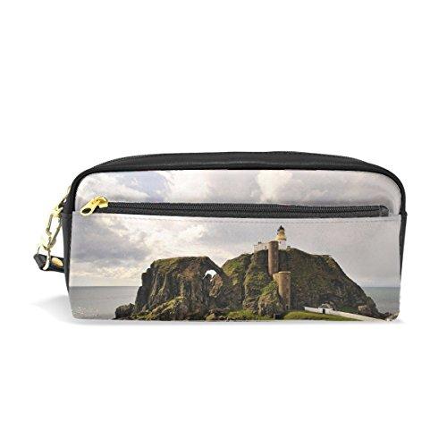 truction Print Pu Leather Pen Pencil Case Pouch Case Makeup Cosmetic Travel School Bag ()
