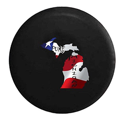 Flag - Pure Michigan State Pride Spare Tire Cover OEM Vinyl Black 32-33 in