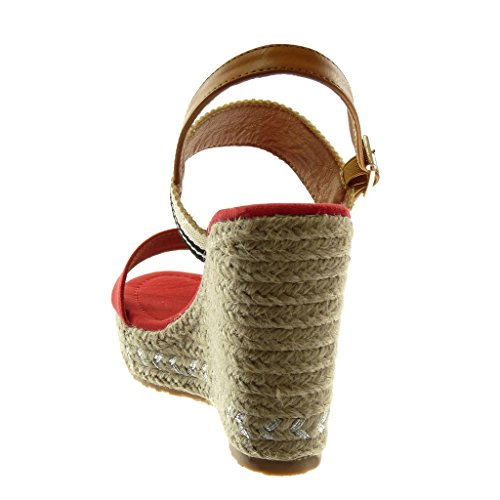 Angkorly Zapatillas Moda Sandalias Alpargatas Correa de Tobillo Plataforma Mujer Cuerda Trenzado Tachonado Plataforma 11 cm Rojo