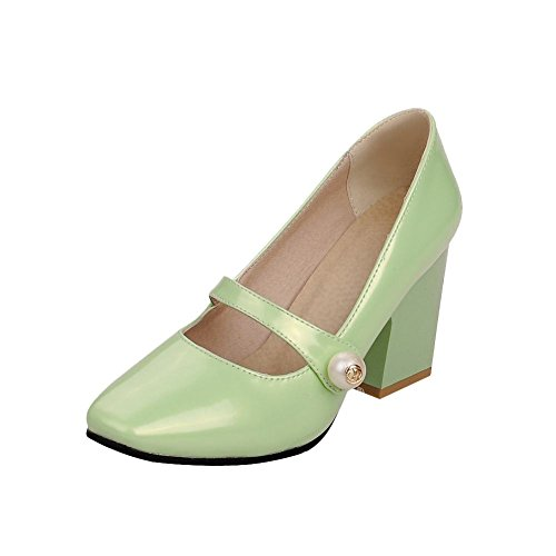 Green Patent Mary Jane - Carolbar Women's Elegance Sweet Beaded Square Toe Dress Chunky mid Heel Mary Janes Shoes (7.5, Mint Green)
