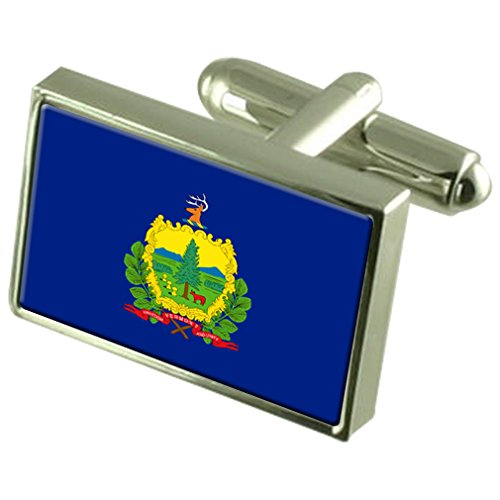 Vermont Sterling Silver Flag Cufflinks in Engraved Personalised Box by Select Gifts