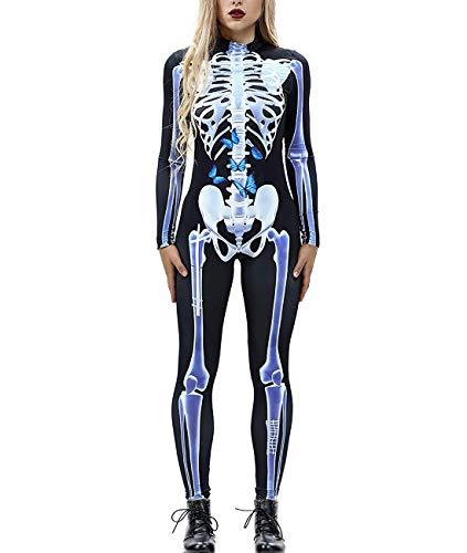 Idgreatim Women Halloween Cosplay Costume 3D Print Long Sleeve Skinny Skeleton Catsuit Jumpsuit Bodysuit (Butterfly,Small)