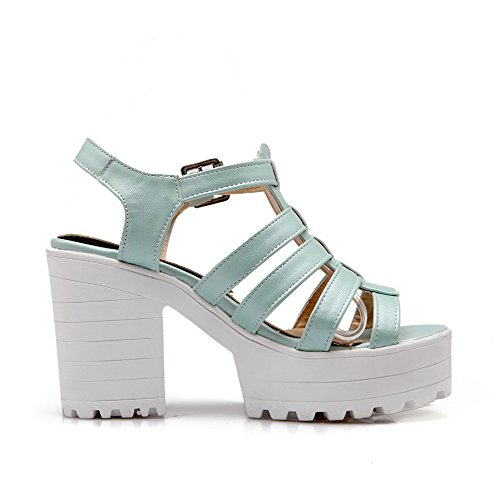 AllhqFashion High Blue Buckle Open Pu Toe Solid Sandals Womens Heels Y1rYw