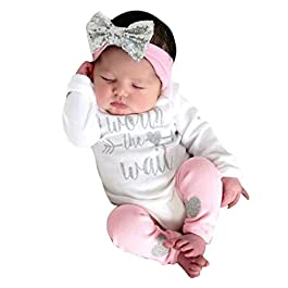 Girls Clothing Sets, SHOBDW Newborn Infant Baby Letter Long Sleeve Romper Jumpsuit + Leg Warmer + Headbands Leggings Outfits