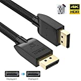 DP Cable 10ft, BIFALE Displayport Cable Silver-Plated OFC Conductor DisplayPort to DisplayPort Cable PET Braided DP to DP Cable Full 4K@60Hz UHD, 2K@144Hz/165Hz Version 1.2 for PC Laptop TV - Black