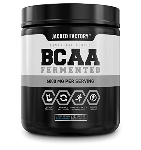 BCAA Powder (Fermented) - 6g Branched Chain Essential Amino Acid Supplement for Improved Muscle Recovery, Reduced Fatigue, Increased Strength, and Muscle Growth - 30 Servings, Blue Raspberry
