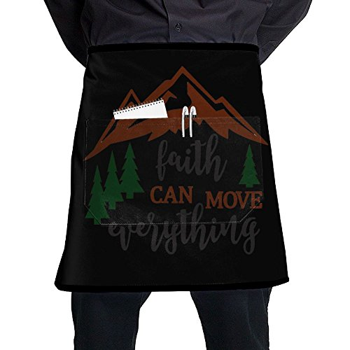 Nicokee Chef Aprons Faith Can Move, Mountains Waist Tie Half Bistro Apron Home Kitchen Cooking by Nicokee