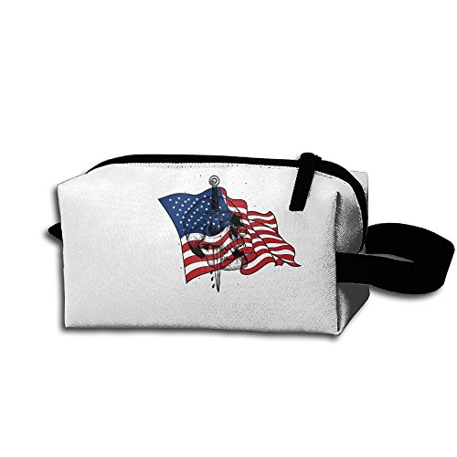 Price comparison product image FLJM Unisex Skull Us Flag 3D Printed Multifunction Portable Pouch Storage Travel Bag Cosmetic Bags Coin Purse