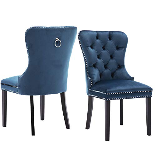 Chairus Velvet Dining Room Chairs Upholstered, Elegant Tufted Chair with Nailed Trim & Ring Pull, Velvet Accent Chair Set of 2 - Indigo Blue