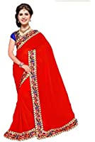 Sarees below 500 rupees georgette with blouse piece Sarees new collection 2017 Sarees for women party wear Sarees for women latest design party wear sarees for women Sarees new collection party wear silk Sarees below 300 rupees saree under 500 RED MORE POPAT