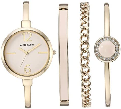 Anne Klein Women's Bangle Watch and Swarovski Crystal Accented Bracelet Set WeeklyReviewer