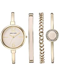 Anne Klein Women's AK/3290LPST Gold-Tone Bangle Watch and Swarovski Crystal Accented Bracelet Set