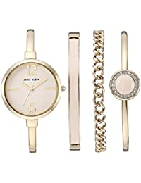 Womens AK/3290LPST Gold-Tone Bangle Watch and Swarovski Crystal Accented Bracelet Set