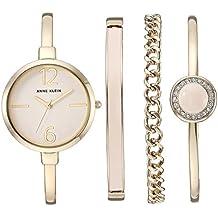 Anne Klein Women's AK/3290LPST Gold-Tone Bangle Watch and Swarovski Crystal Accented Bracelet Set
