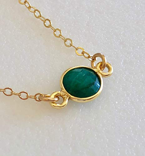 Emerald Necklace, Kelly Green Emerald Bezel Necklace, Genuine Emerald, May Birthstone, Dainty Necklace, 24K Gold Vermeil, Sterling Silver.