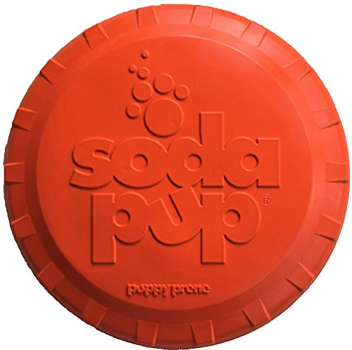 SodaPup Dog Frisbee - Tough dog toys for large dogs Premier Dog Toys to Play Fetch with, USA Made - Orange - Small by SodaPup