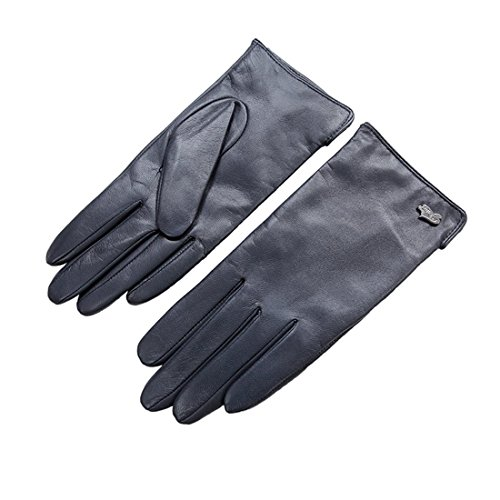 Nappaglo Nappa Leather Gloves Warm Lining Winter Multicolor Imported Leather Lambskin Gloves for Women (S, Navy)