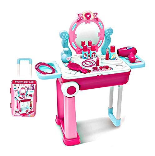 vikas gift gallery 2 in 1 pretend to play cosmetic and makeup toy set kit for little girls, beauty dresser table play…