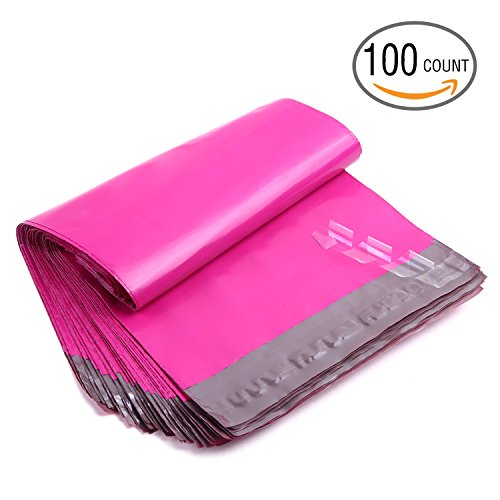 "Ohuhu 100-Pack Hot Pink Poly Mailers Shipping Envelope Bags with Self Adhesive Strip, Water Resistant, 10""x13"""