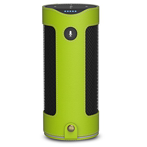 MoKo Carrying Case for Amazon Tap, Premium Vegan PU Leather Bag Cover Sleeve Skins for Amazon Tap Portable Bluetooth Speaker, with Holding Strap & Carabiner, - Green Tap