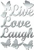 Lot 26 Studio ADD-HERES Adhesive Reflections-Mirror Live, Love, Laugh Wall Stickers, 10.25 x 15-Inches