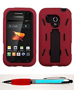 Accessory Factory(TM) Bundle (Phone Case, 2in1 Stylus Point Pen) SAMSUNG M830 (Galaxy Rush) Black Red Symbiosis Stand Protector Cover