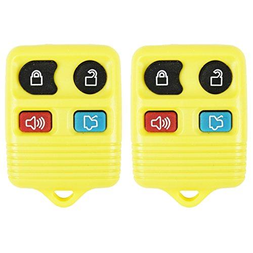 qualitykeylessplus 2 Yellow Remote Replacement 4 Button Keyless Entry FCC ID: CWTWB1U331 Free KEYTAG