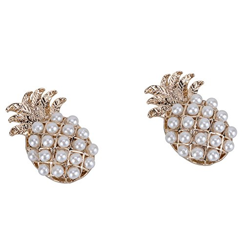18K Gold Plated Imitation Pearls Pineapple Charm Women girls stud Earrings