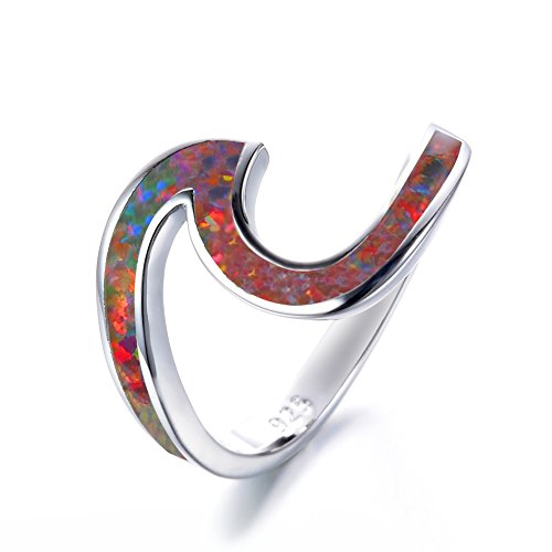 Bamos 925 Sterling Silver Ring Wave Ocean Lab Created Multicolor Orange Opal. Silver Ring sizes 5-10