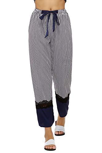 Trousers Pajama (BellisMira Women's Satin Silky Sleepwear Lace Cami Nightgown Pajama Set Bottoms Trousers Pants Sleep Shorts PJ)