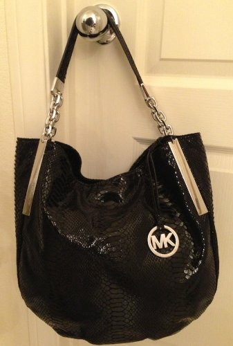 9a9be1efbfe164 Amazon.com: Michael Kors Black Snakeskin Leather Julian Large Shoulder Bag  Handbag Purse: Shoes