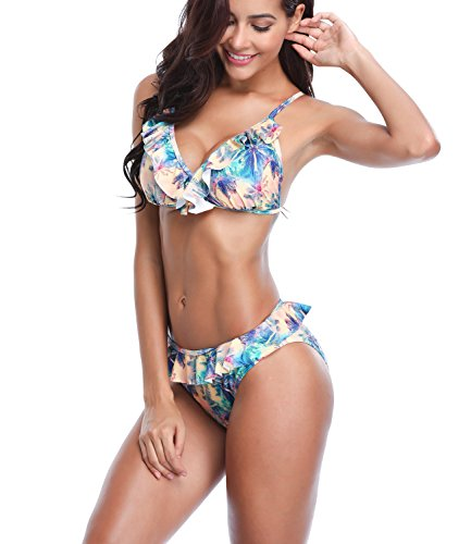 LANFEI Womens Strap Bathing Suit Coconut Tree Print Ruffle Bikini Set
