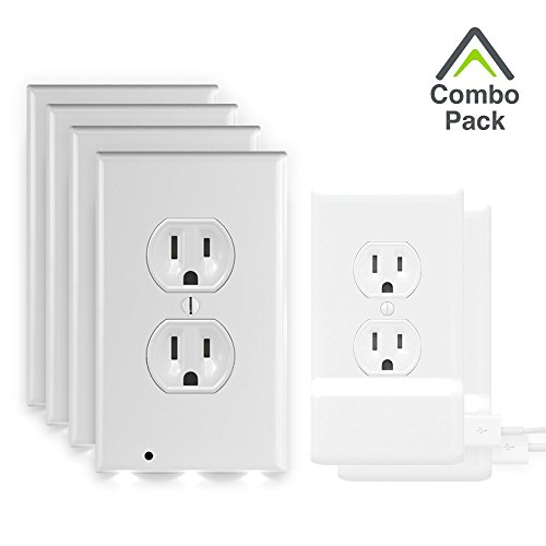SnapPower Combo Pack (4 Guidelights, 2 USB Chargers) - Outlet Wall Plate With LED Night Lights - No Batteries Or Wires - Installs In Seconds (Duplex, White)