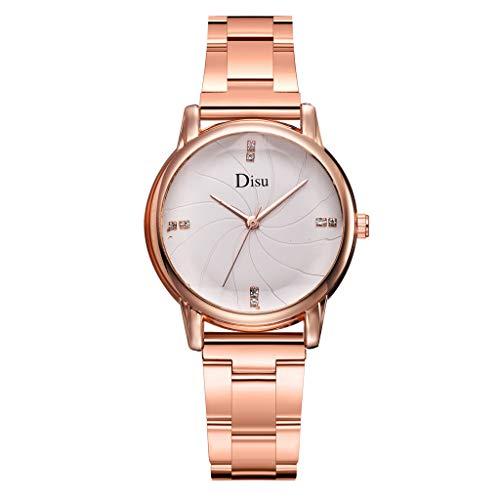 HunYUN Women's Analog Watch with Gold-Tone Case, Crystal-Inset Bezel, Fold-Over Clasp Fashion Luxury Temperament Diamond Set Dial Alloy Strap Ladies Quartz Watch B (Bedat Diamond Watch)