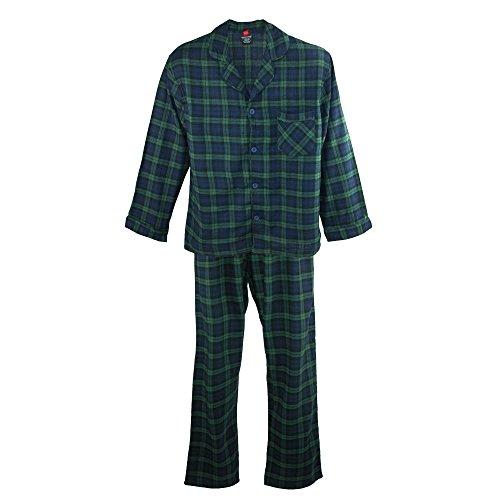 (Hanes Men's Big and Tall Cotton Flannel Pajama Set, 3X, Green Navy Plaid)