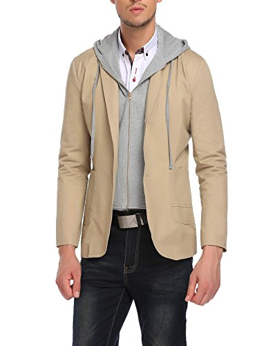 COOFANDY Mens Slim Fit Casual Two Button Stylish Hoodie Jacket Blazer Coat ()