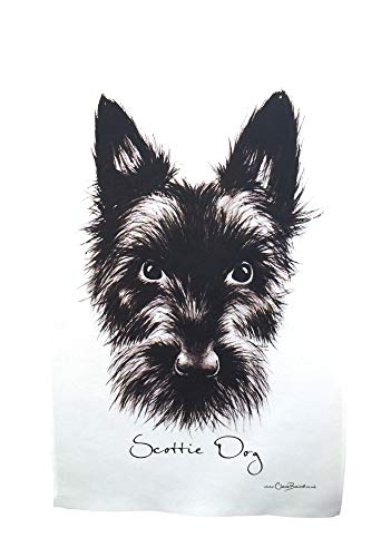 Clare Baird Scottish Highland Terrier Scottie Dog 100% Cotton Tea Towel