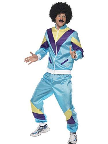 (Fest Threads 2 PC Men's 80s Workout Fitness Guy Light Blue Jacket & Pants Party)