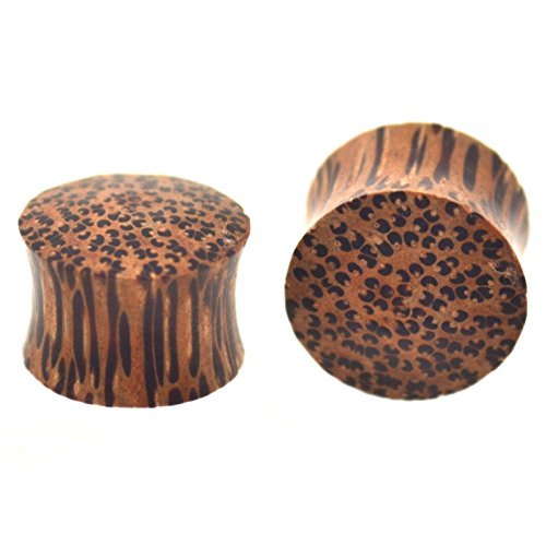(Pair of Organic Coconut Palm Wood Ear Plugs Saddle-Fit Gauges - 0 Gauge (0G-8MM))