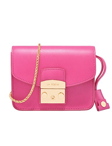 LA'FESTIN Ladies Leather Chain Purse with Shoulder Strap Fashion Mini Side (Bright Side Bag)