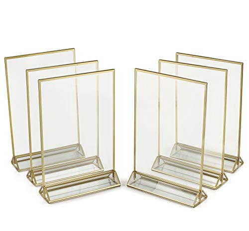 SUPER STAR QUALITY Clear Acrylic 2 Sided Frames With Gold Borders and Vertical Stand (Pack of 6)) | Ideal for Wedding Table Numbers, Double Sided Sign, Clear Photos, Menu ()