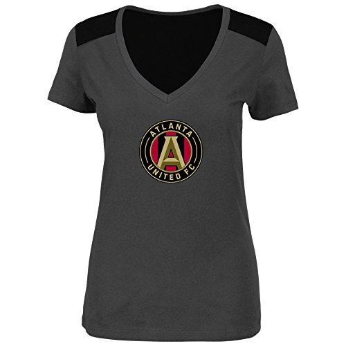 VF Atlanta United FC Women Plus Size Glitter Logo Heathered Performance V-Neck T-Shirt Gray