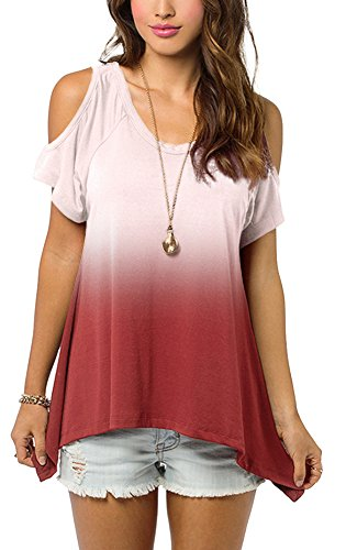 - Women's Cold Shoulder Off Shirt Gradient Color Tunic Top (2XL, Wine Red)