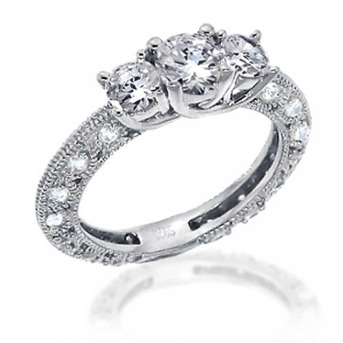 Vintage Style Filigree 3CT Round Solitaire 3 Stone Promise Cubic Zirconia AAA CZ Engagement Ring 925 Sterling Silver