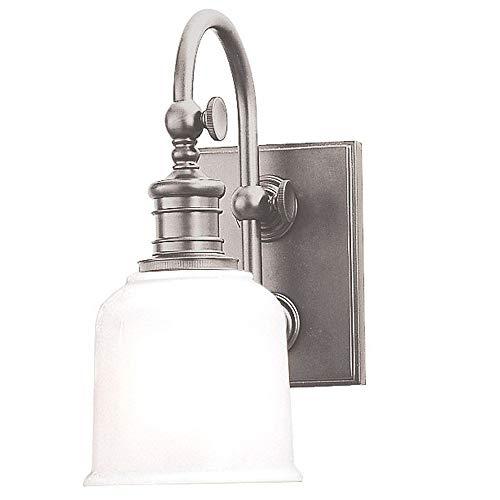 (Keswick 1-Light Vanity Light - Satin Nickel Finish with Opal Glossy Glass Shade)
