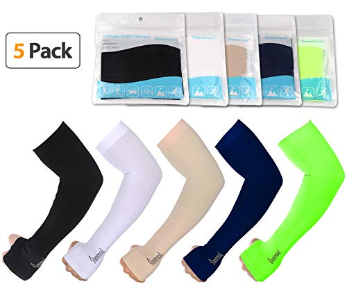SHINYMOD UV Protection Cooling Arm Sleeves Men Women Sunblock Cooler Protective Sports Running Golf Cycling Basketball Driving Fishing Long Arm Cover Sleeves(White+Black+Beige+Navy+Neon Green)
