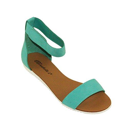 Breckelles Womens Joy-43 Adjustable Ankle strap Flat Sandals Aqua