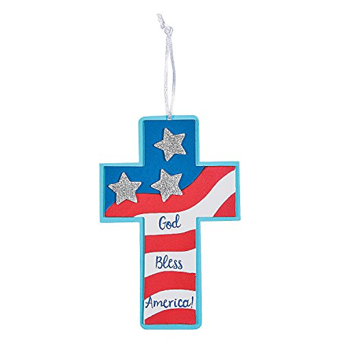 Fun Express - Patriotic Faith Ornament ck for Fourth of July - Craft Kits - Ornament Craft Kits - Foam - Fourth of July - 12 Pieces ()