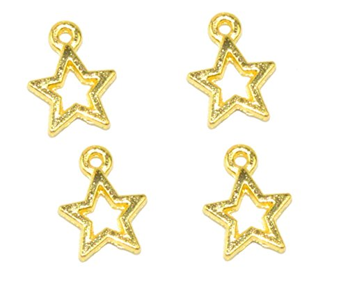 (Youkwer 100Pcs 10mm x13mm Alloy Stars Christmas Charms Pendants for DIY Crafting and Bracelet and Necklace Jewelry Making (Star)